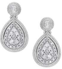 Lord & Taylor Diamond and Sterling Silver Teardrop Earrings