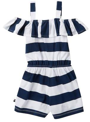 Tommy Hilfiger Printed Rugby Stripe Romper (Little Girls)