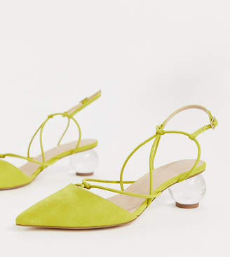 Asos Design DESIGN Wide Fit Sunset knotted ball heels in chartreuse