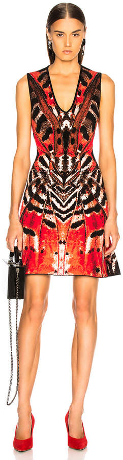 Alexander Mcqueen Engineered Butterfly Jacquard Sleeveless Mini Dress