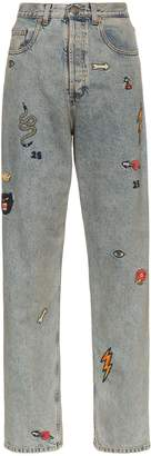Gucci high waist embroidered jeans