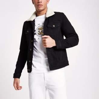 River Island Black washed fleece collar denim jacket