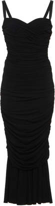 Dolce & Gabbana Ruched Stretch-Crepe Midi Dress