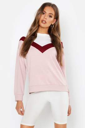 boohoo Chevron Contrast Panel Sweatshirt