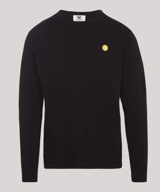 Wood Wood Mel Small Aa Logo Long Sleeve Cotton T-Shirt