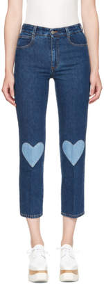 Stella McCartney Blue High Waist Cropped Skinny Jeans