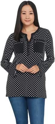 Susan Graver Polka Dot Liquid Knit Top with Zipper Pockets