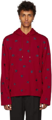 McQ Red and Navy Cutup Coverlock Hoodie