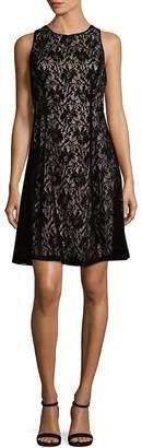 Maggy London Women's Velvet Lace Fit-&-Flare Dress