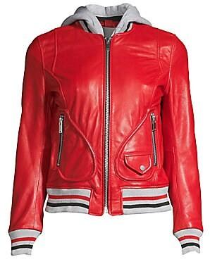Doma Women's Michelle Hooded Leather Varsity Jacket