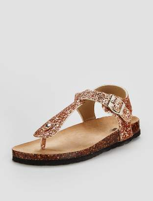 Very Girls Evelyn Toe Post Glitter Sandal - Rose Gold