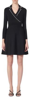 Sandro Suity Bead Trim Long Sleeve Sweater Dress