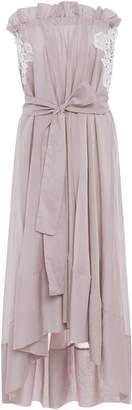 Lila Eugenie Convertible Lace Applique Cotton Blend Strapless Dress