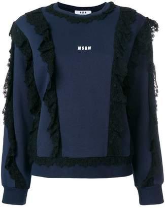MSGM lace trim logo sweatshirt