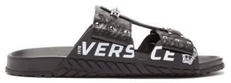 Versace Logo Print Chain Embellished Leather Sandals - Mens - Black Silver