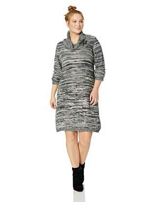 Sandra Darren Women's 1 PC Plus Size 3/4 Sleeve Cowl Neck Sheath Sweater Dress