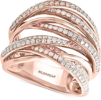 Effy Diamond Pavé Crisscross Multi-Row Statement Ring (3/4 ct. t.w.) in 14k Rose Gold