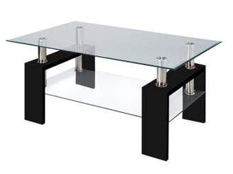 Fab Glass and Mirror Modern Glass Red Coffee Table with Shelf Contemporary Living Room