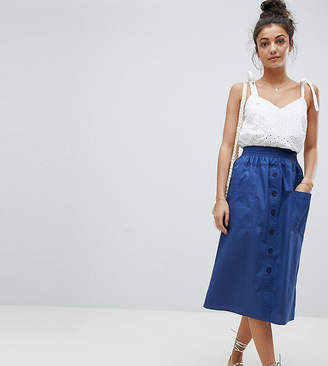 Asos Tall DESIGN Tall cotton midi skirt with button front