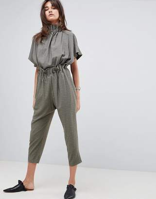 Asos Soft Ruffle Jumpsuit in Jacquard