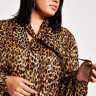 River Island Womens Plus Brown leopard print tie neck blouse