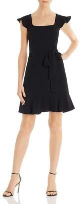 Adrianna Papell Flounced Crepe Dress
