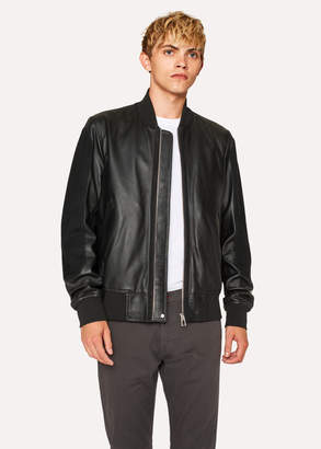Paul Smith Men's Black Leather Bomber Jacket With Suede Panels