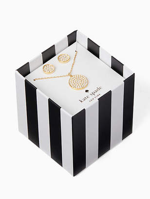 Kate Spade Pave pendant and studs boxed set