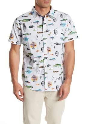 Straight Faded Fish Print Slim Fit Woven Shirt