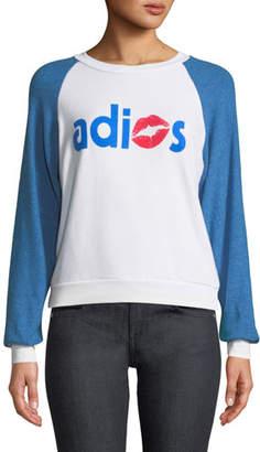 Wildfox Couture Adios Shrunken Graphic Baseball Sweatshirt Top