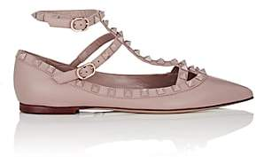 Valentino Women's Rockstud Leather Ankle-Strap Flats-Nudeflesh