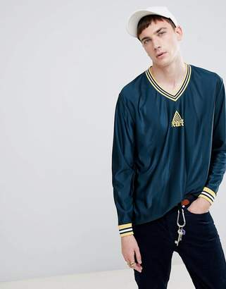 Asos DESIGN relaxed longline long sleeve t-shirt with gothic text in striped polyester