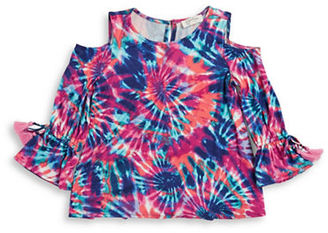 Jessica Simpson Girls 7-16 Girls Tie-Dye Cold Shoulder Top $39.50 thestylecure.com