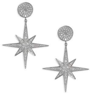 Sydney Evan 14K White Gold& Diamond Starburst Drop Earrings