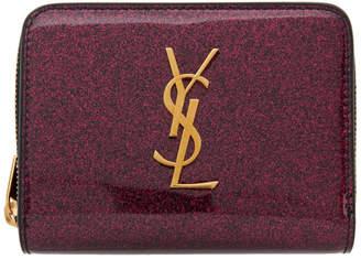 Saint Laurent Pink Glitter Compact Monogramme Wallet