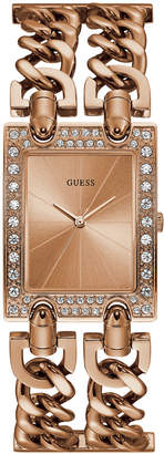 GUESS Women Rose Gold-Tone Crystal Multi-Chain Bracelet Watch with Adjustable Links 37mm