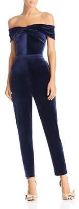 Adelyn Rae Off-the-Shoulder Velour Jumpsuit
