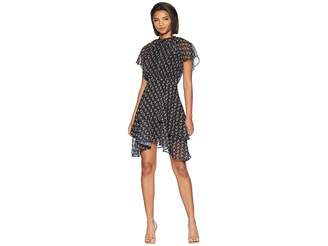 Adelyn Rae Erin Woven Tie-Neck Tiered Dress