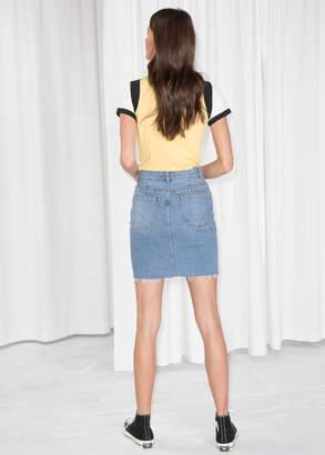 Raw Hem Denim Pencil Skirt