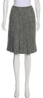 Oscar de la Renta Pleated Knee-Length Skirt Grey Pleated Knee-Length Skirt