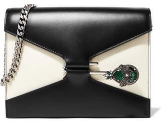 Alexander McQueen Pin Swarovski Crystal-embellished Two-tone Leather Shoulder Bag - Black