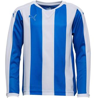 Puma Junior Boys Striped Long Sleeve Shirt Royal/White