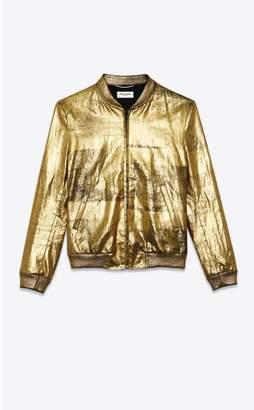 Saint Laurent Varsity Jacket In Lacquered Linen Canvas