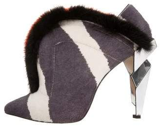Fendi Mink-Trimmed Pointed-Toe Booties
