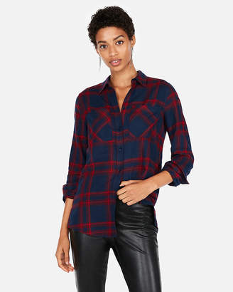 Express Plaid Two Pocket Boyfriend Flannel Shirt