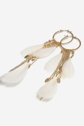 Topshop Feather Hoop Earrings