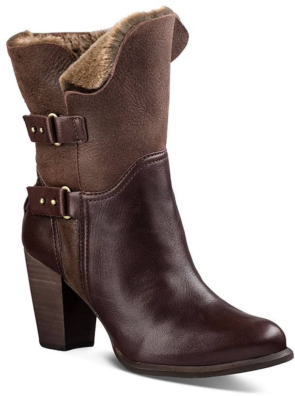 UGG UGG® Jayne Leather and Sheepskin Mid Calf Booties