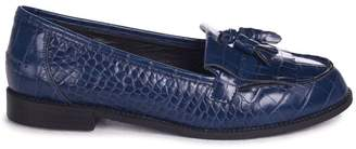 b2fc6f79c2c Linzi Rosemary Navy Croc Faux Leather Classic Slip On Loafer