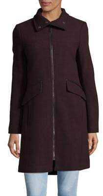 Ellen Tracy Wool Blend Full-Zip Coat