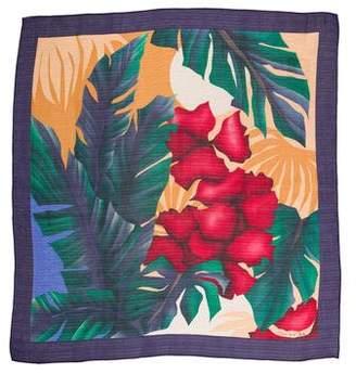 Oscar de la Renta Woven Floral Print Scarf